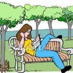 parkta kitap okuyan kız